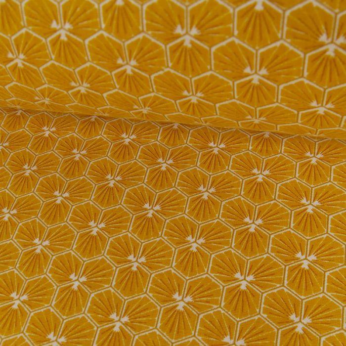 Tissu Cretonne Hexagone - Jaune x 10 cm