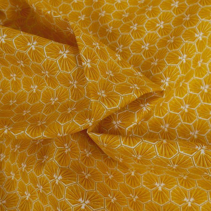Tissu Cretonne Hexagone - safran x 10 cm