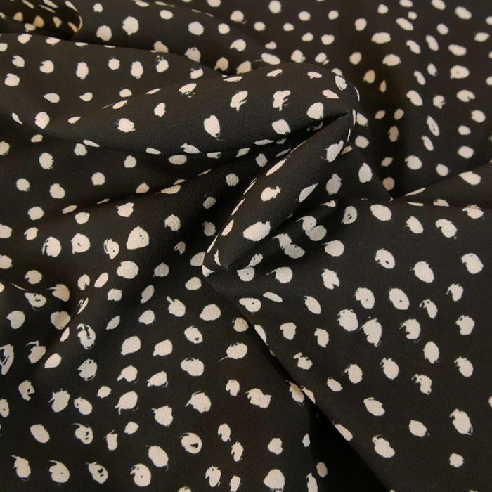 Coupon x 75 cm - Polyester fluide stretch pois noir