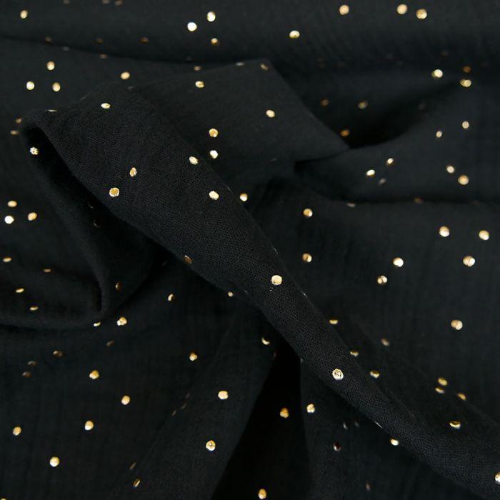 Coupon x 90 cm - Double gaze pois dorés noir