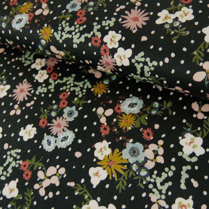 Coupon x 80 cm - Coton stretch Fleurs et Pois Noir