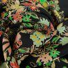 Tissu Soie Fluide Fleurs - Noir x 10 cm