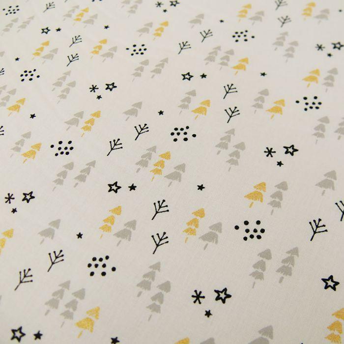 Coupon x 90 cm - Coton oeko-tex sapins or