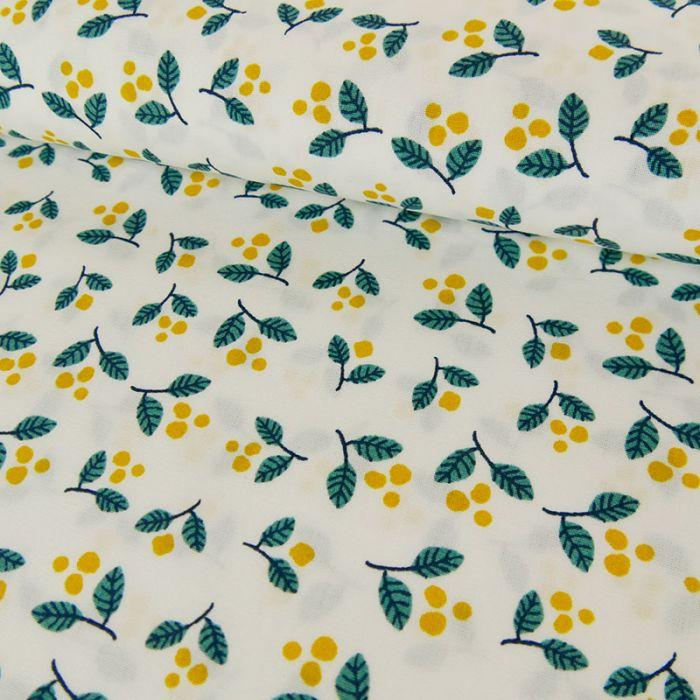 Coupon x 1 m - Popeline coton oeko-tex mimosa blanc cassé