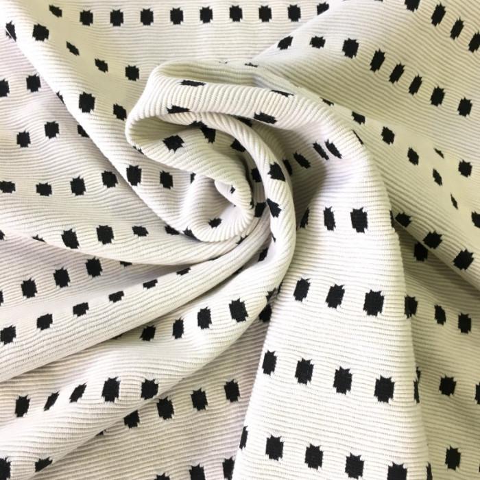 Coupon x 50 cm - Tissu écru pois noirs