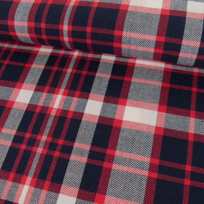 Tissu coton bio marine carreaux rouges - C. Pauli