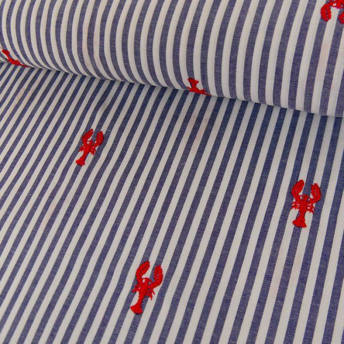 Tissu Coton à Rayures - Homards Brodés - Bleu x 10 cm