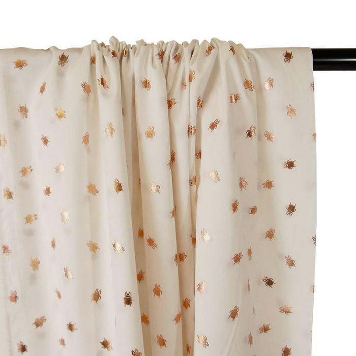 Tissu Popeline de Coton - Insecte Cuivre - Ecru x 10cm