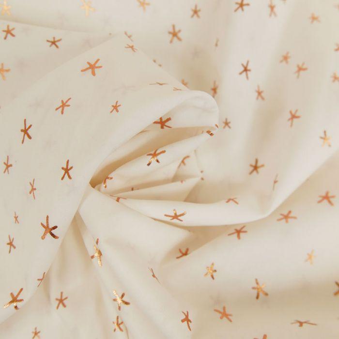 Tissu Popeline de Coton - Etoile Cuivre - Ecru x 10cm