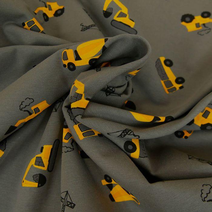 Tissu Jersey Camion Construction - Gris x 10 cm