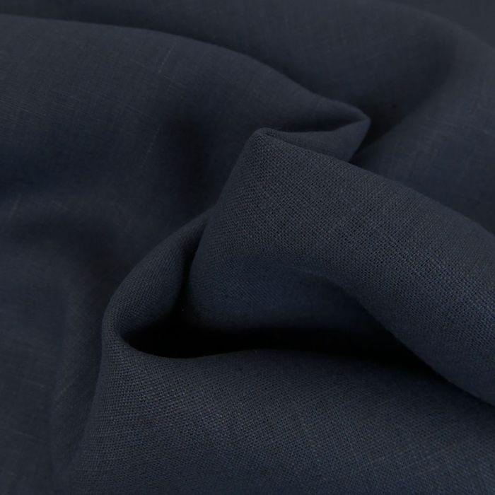 Tissu Lin Uni - Bleu Marine x 10cm