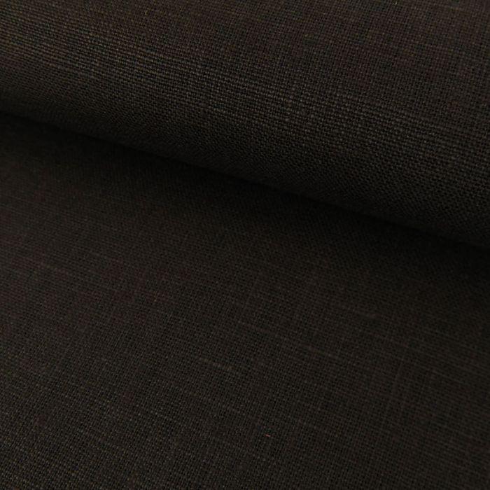 Tissu Lin Uni - Noir x 10cm