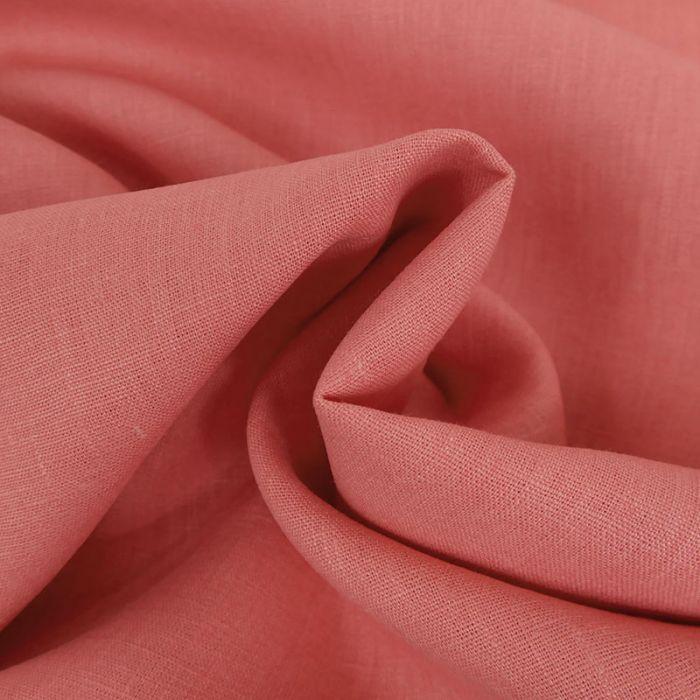 Tissu Lin Uni - Rose x 10cm
