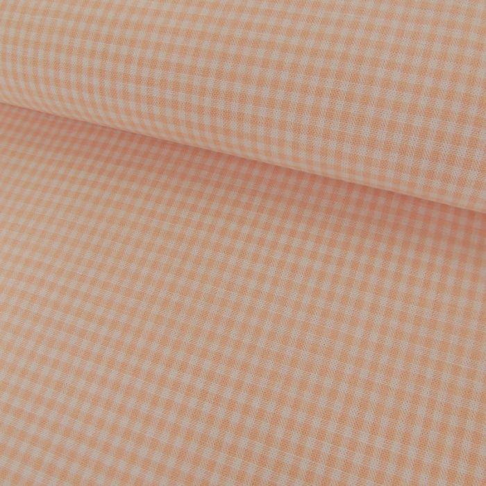 Tissu Coton Vichy - Saumon x 10cm