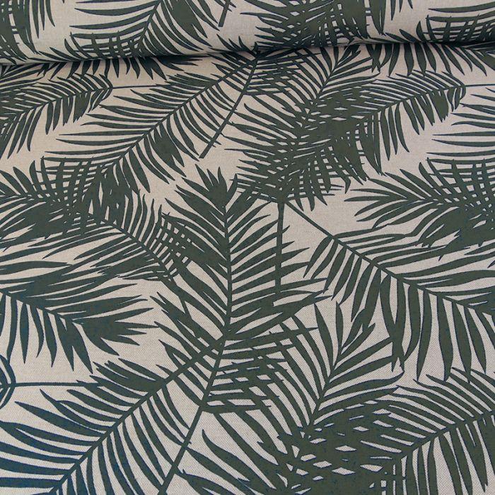 Tissu coton feuillages - kaki x 10 cm