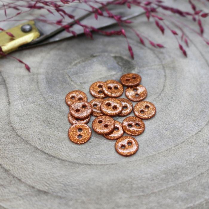 Bouton pailleté cuivre - Atelier Brunette x 1