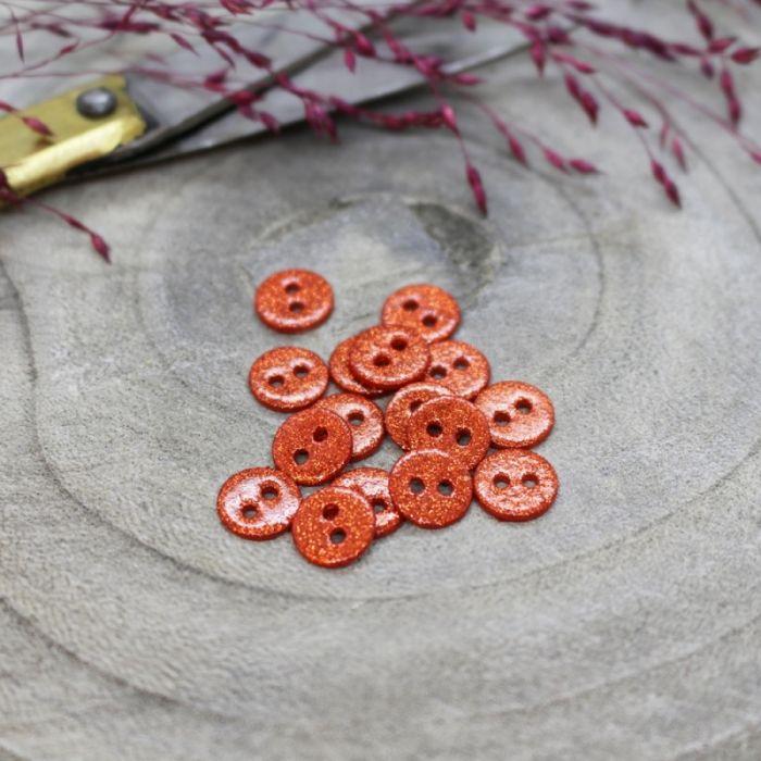 Bouton pailleté orange - Atelier Brunette x 1