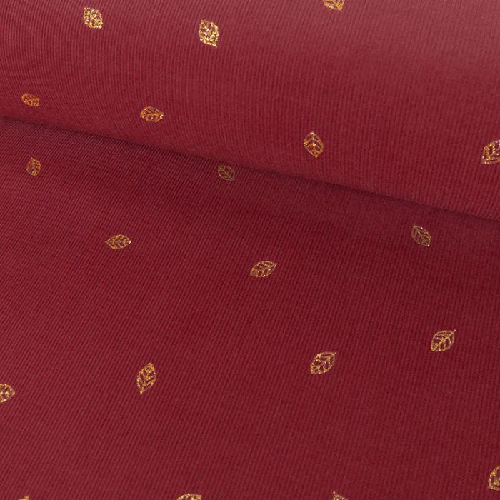 Coupon x 45 cm - Velours milleraies feuilles glitter tomette