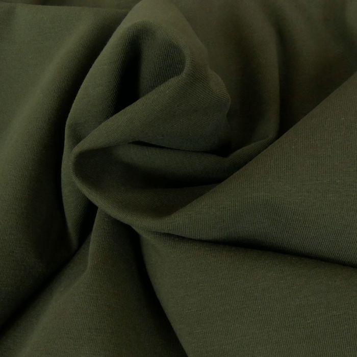 Tissu jersey coton uni vert kaki x 10cm