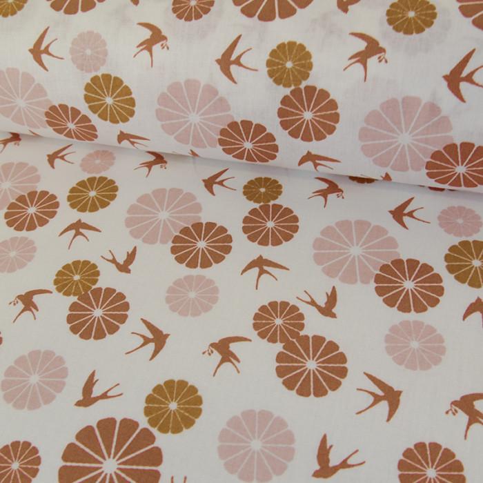 Coupon x 40 cm - Coton Hirondelles - Terra