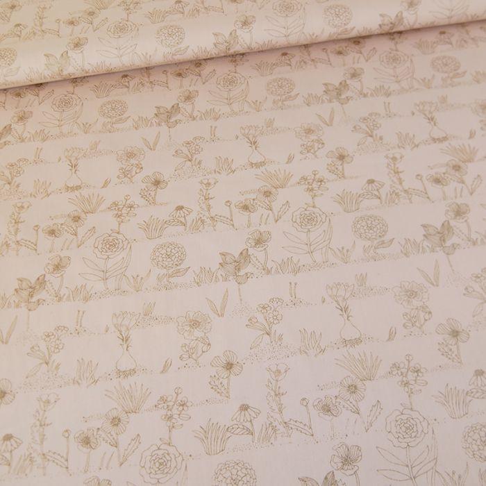 Coupon x 80 cm - Coton Fleurs Métallisés - Rico Design