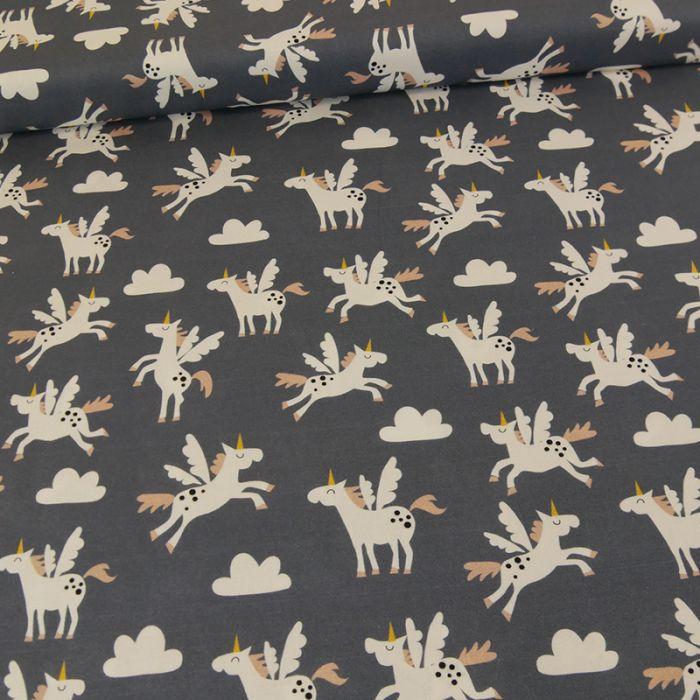 Coupon x 95 cm - Tissu licornes Copenhagen Print Factory gris