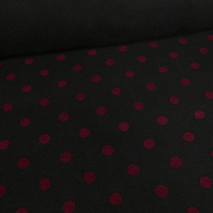 Coupon x 65 cm - Tissu lainage pois bordeaux noir