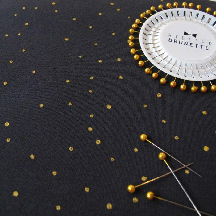 Coupon x 40 cm - Tissu sweat Twinkle night - Atelier Brunette