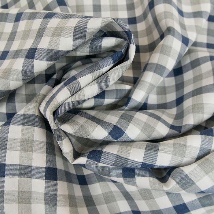 Coupon x 80 cm - Coton carreaux gris bleu