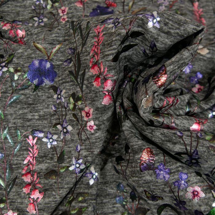 Tissu jersey fleurs lurex - Gris x 10 cm