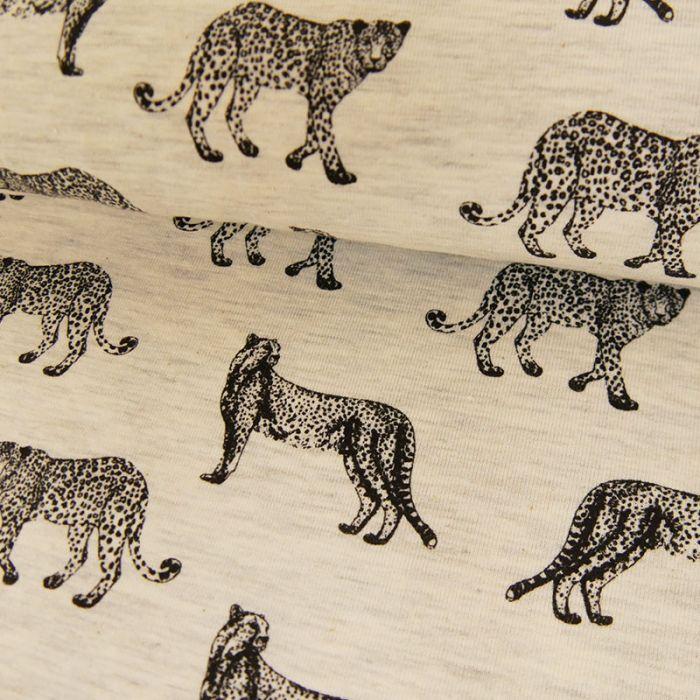 Tissu jersey fin léopard beige - Poppy x 10 cm
