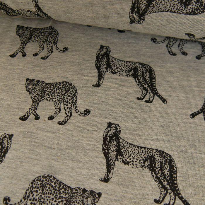 Tissu jersey fin léopard gris - Poppy x 10 cm