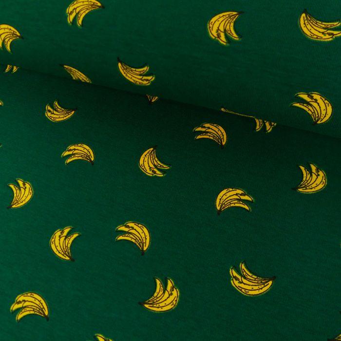 Tissu Jersey Banane - Vert x 10 cm