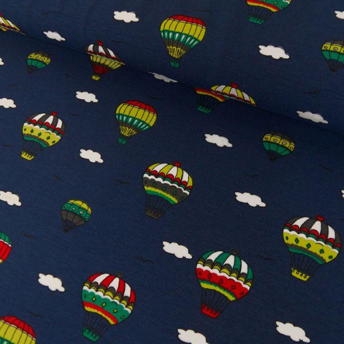 Tissu Jersey Fin Montgolfières - Bleu x 10 cm