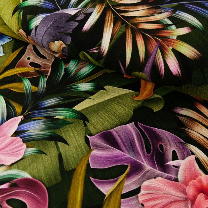 Tissu Jersey Viscose Fleurs Tropicales x 10 cm