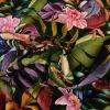 Tissu Jersey Viscose Fleurs Tropical x 10 cm