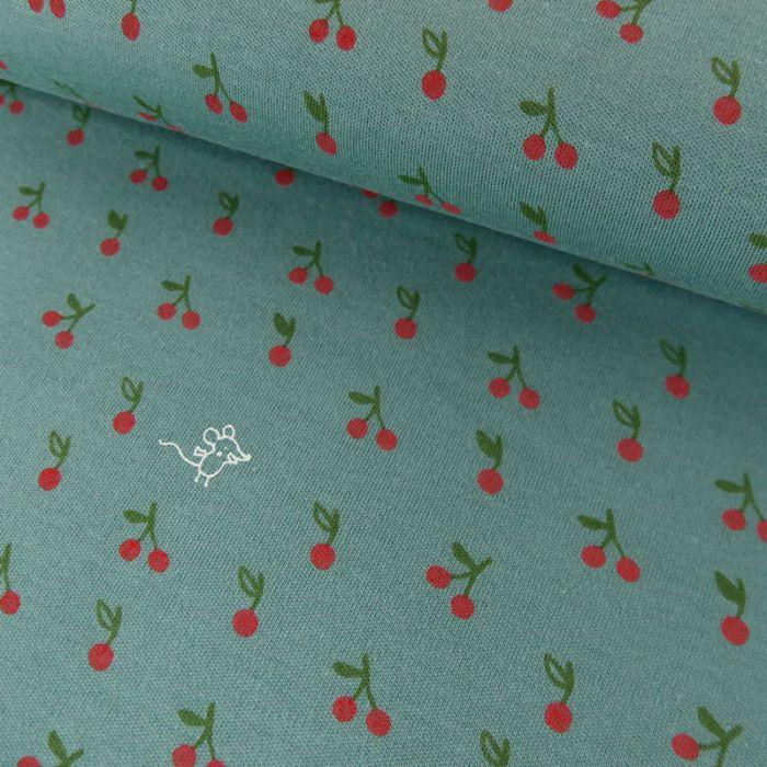 Tissu jersey Bio Cerises et Souricette - C. Pauli x 10 cm