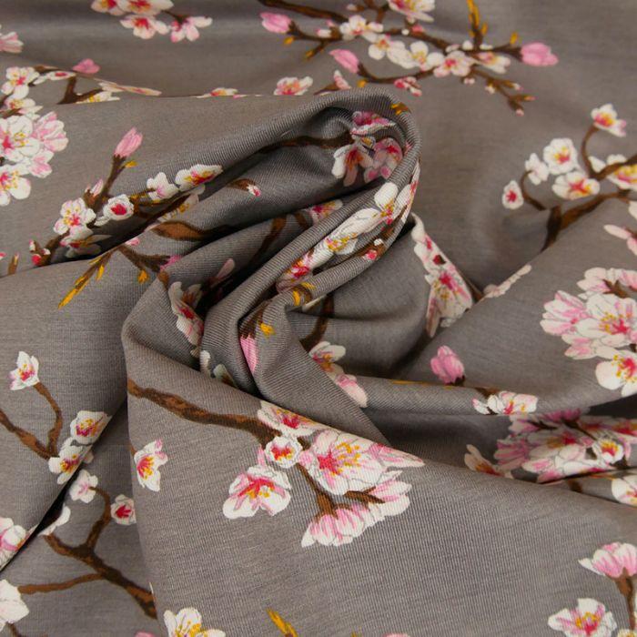 Tissu jersey fin fleurs japonaises - gris x 10 cm