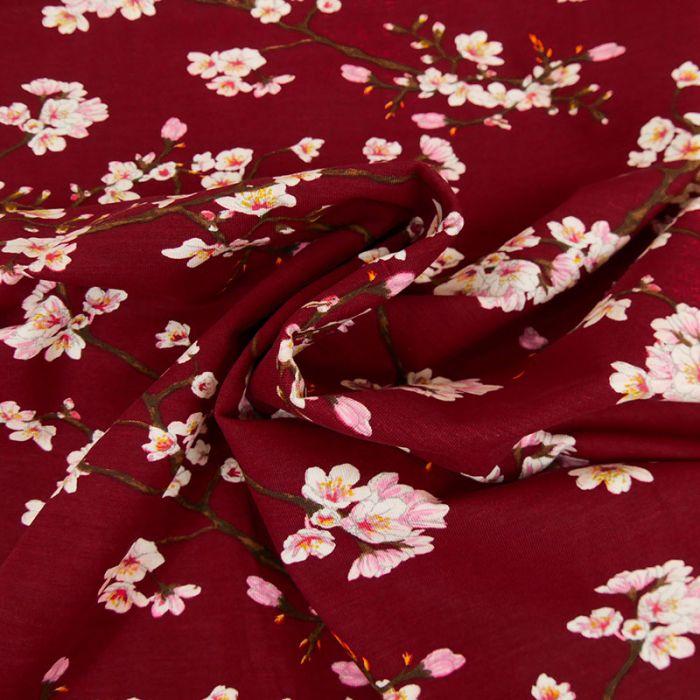 Tissu jersey fin fleurs japonaises - rouge x 10 cm