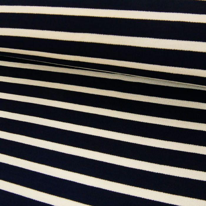 Tissu jersey rayures blanches - marine x 10 cm