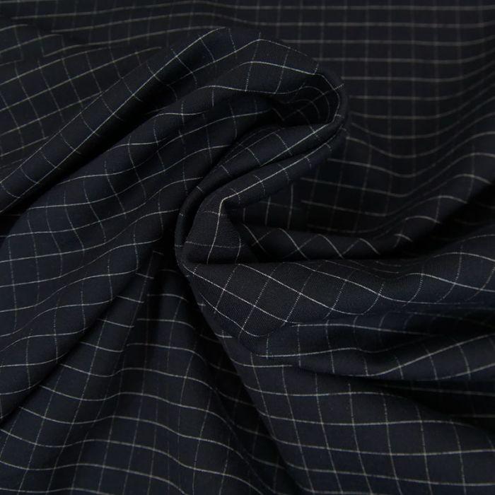 Tissu polyviscose fin carreaux - marine x 10 cm