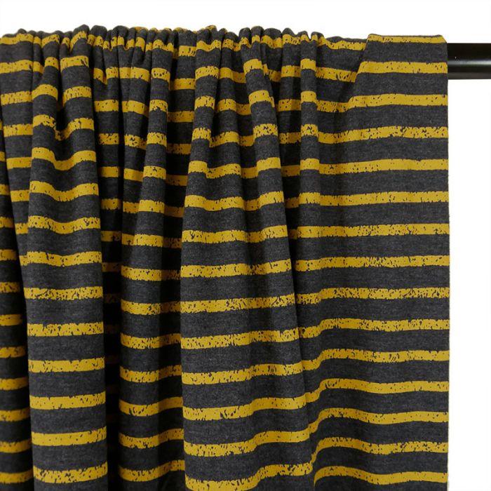 Tissu jersey rayures moutarde gris foncé - Poppy x 10 cm