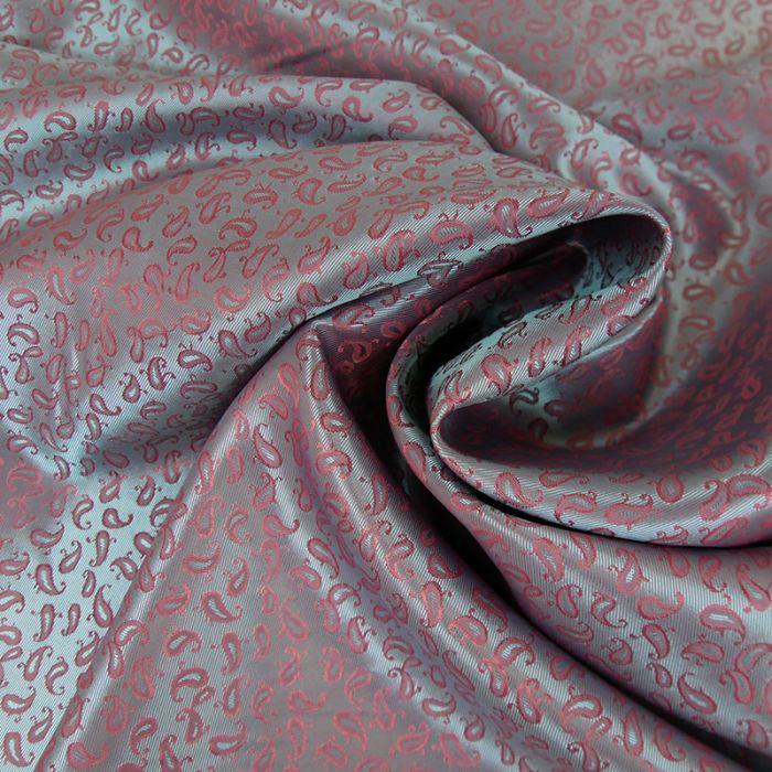 Coupon tissu polyester motifs cachemire rose - 80 X 145 cm