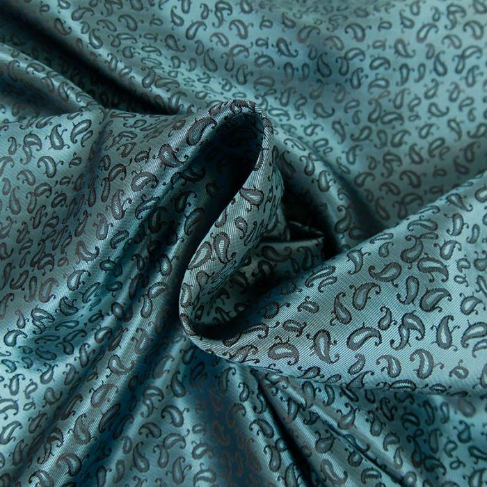 Tissu polyester motifs cachemire - bleu x 10 cm