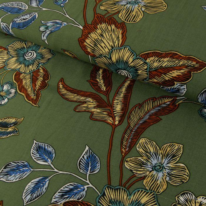 Tissu viscose fleurs - vert x 10 cm