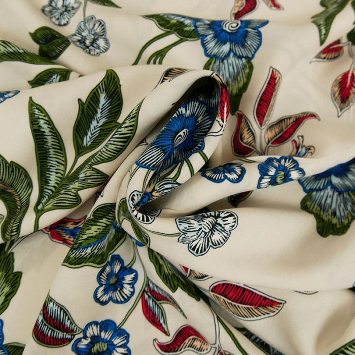 Tissu viscose fleurs - beige x 10 cm