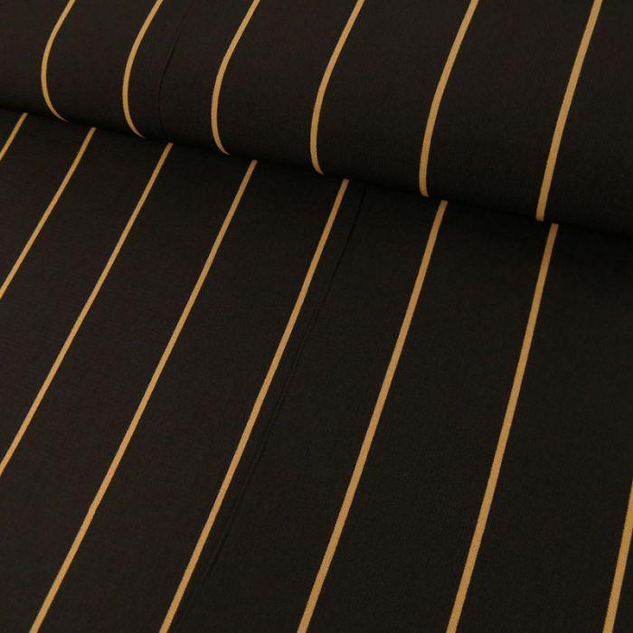 Tissu polyester rayures sable - noir x 10 cm