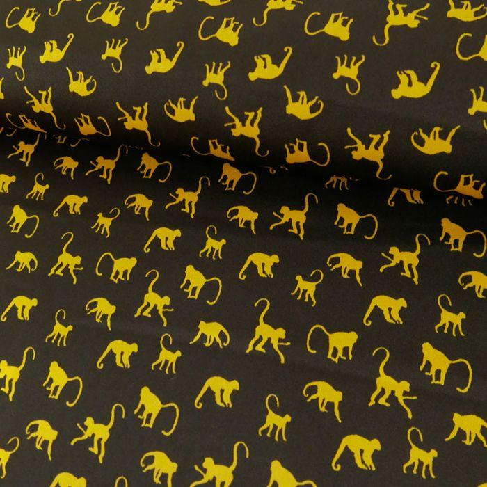 Tissu satin singes jaunes - noir x 10 cm
