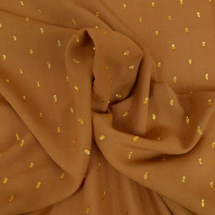 Tissu viscose plumetis dorés camel - France Duval x 10 cm