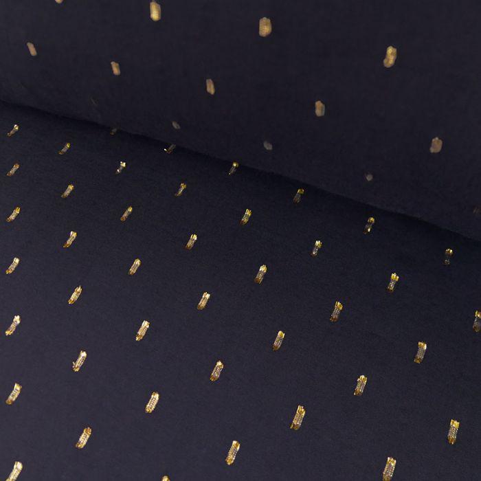 Tissu viscose plumetis dorés marine - France Duval x 10 cm